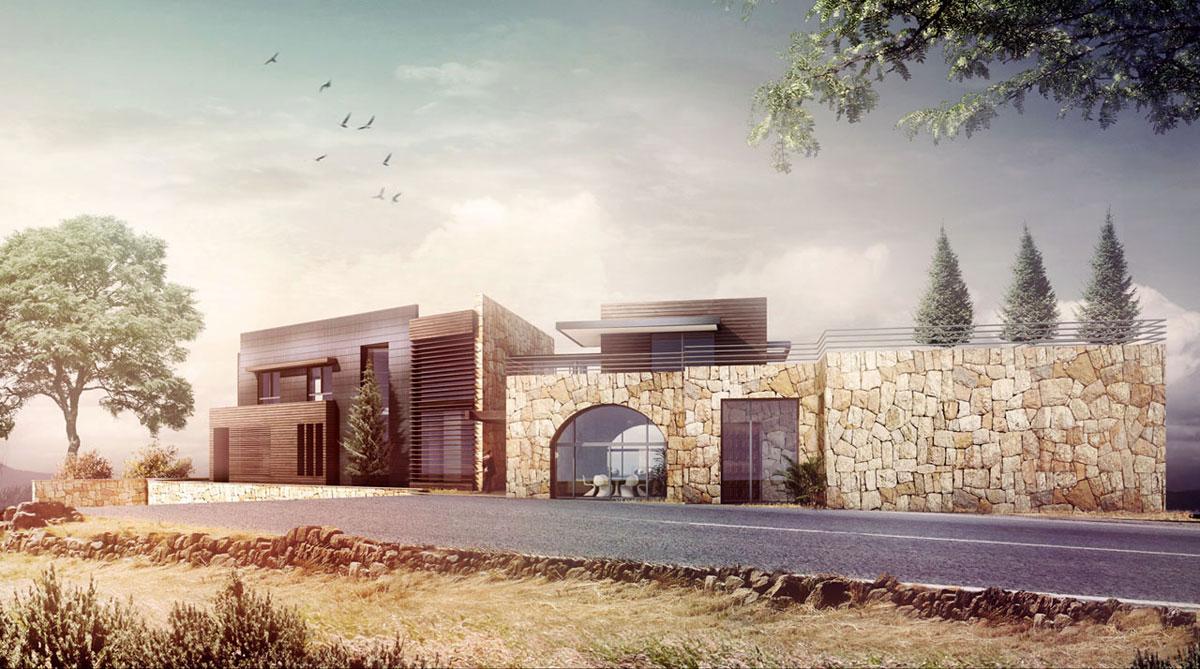 Wall Design Lebanon : Villa in faqra lebanon street view nicolas richelet